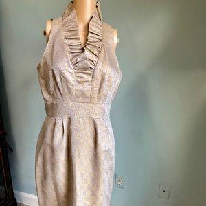 Sleeveless ruffle neck dress size 6